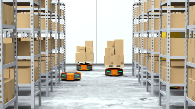 Orange robot carriers carrying goods in modern warehouse Orange robot carriers carrying goods in modern warehouse.  Modern delivery center concept. 3D rendering animation. robot stock videos & royalty-free footage