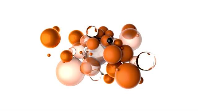 vídeos de stock, filmes e b-roll de esferas alaranjadas que flutuam no movimento - esfera