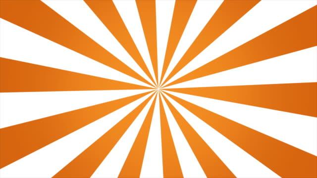vídeos de stock, filmes e b-roll de movimento de rotação de fundo do padrão de explosão solar laranja. - poster