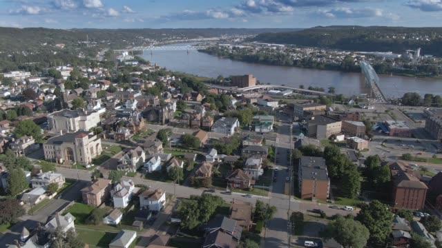 Orbiting Aerial Establishing Shot of Small River Town video