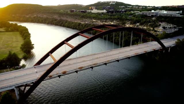 Orbiting around Pennybacker Bridge in Austin , Texas , USA
