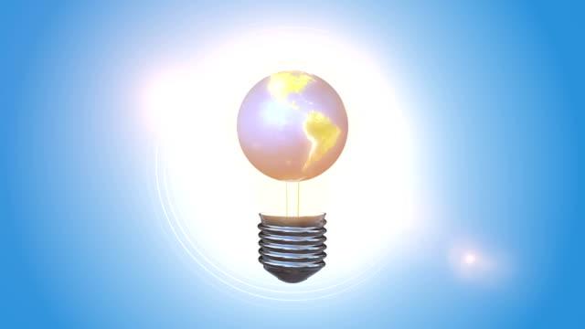 Orbiting Blue Globe Inside Of A Bulb