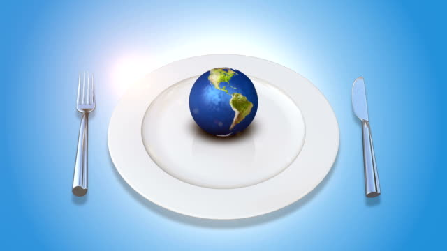 Orbiting Earth On A Plate With Fork And Knife video