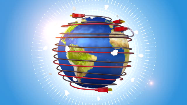 Orbiting Globe Surrounded By Red Power Cords video