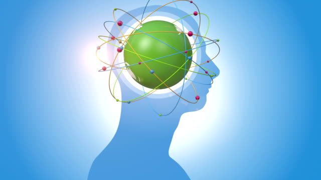 Orbiting Green Globe Inside Of Human Head video