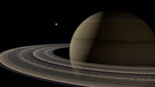 Orbiting Planet Saturn. video
