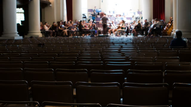 Orchestra rehearsal with copy space video