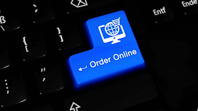 order online moving motion on blue enter button on modern computer keyboard with text and icon labeled. selected focus key is pressing animation. - food delivery стоковые видео и кадры b-roll