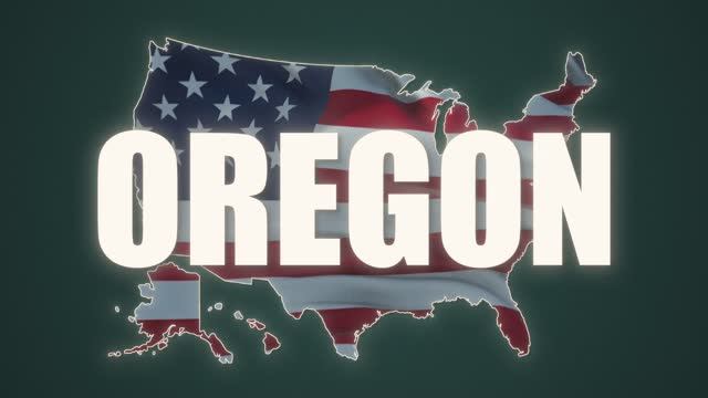 Oregon city text with USA map flag video waving in wind. Waving Flag United States Of America.