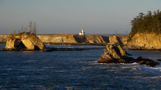 oregon coast cape arago lighthouse - 州立公園 個影片檔及 b 捲影像