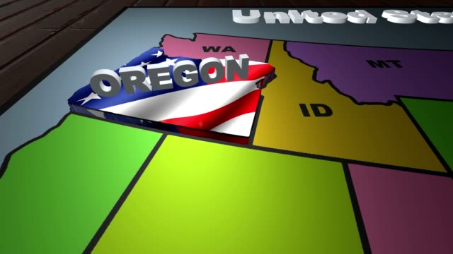 Oregon pull out from USA states abbreviations map video
