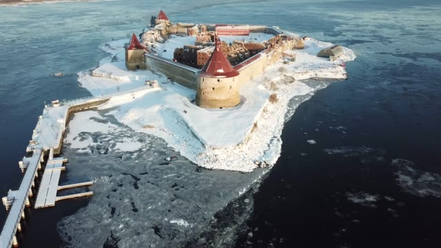 oreshek fortress on lake ladoga - san pietroburgo russia video stock e b–roll