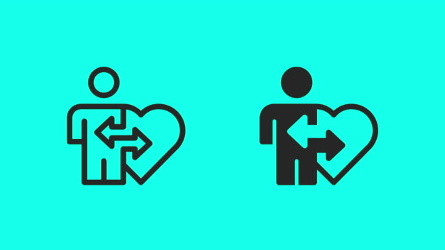 organ donation icons - vector animate - clip art video stock e b–roll