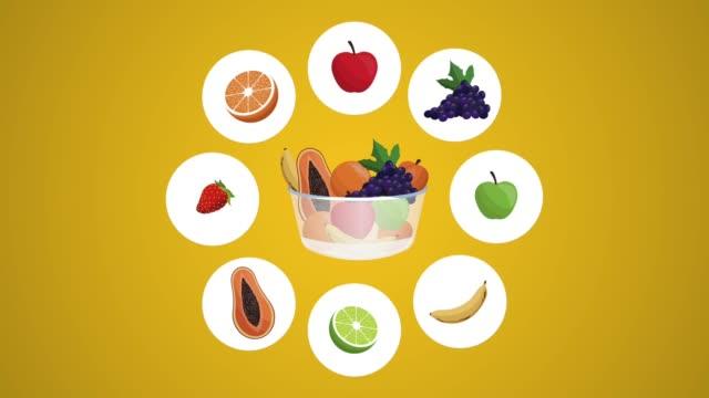 Organic fruits icons HD animation