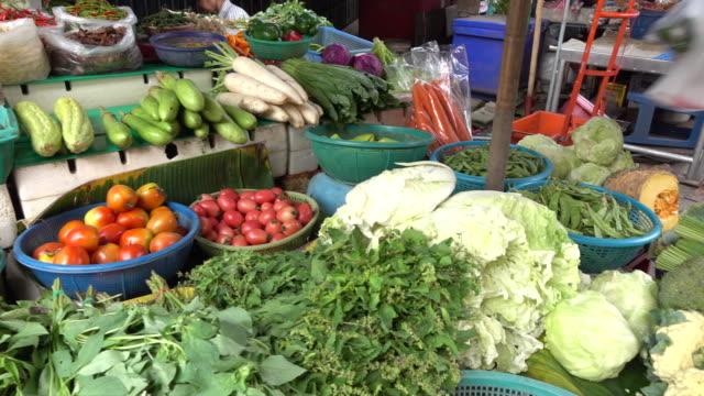 vídeos y material grabado en eventos de stock de vegetales orgánicos en el mercado público en tailandia - pak choy