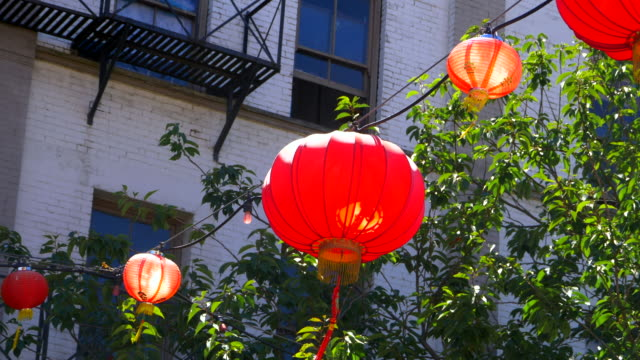 Oriental Decorative Lantern, Red Chinese Light, Slow Motion Close Up video