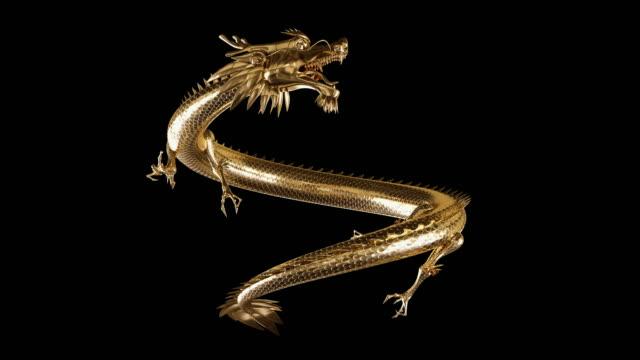 orientalny złoty azjatycki smok symbol mocy bogactwa i mądrości. zestaw 5 animowanych tradycyjnych wschodnich smoków w ruchu. żywe zwierzęta fantasy 3d w chińskiej kulturze. złote smoki latający styl pętli - smok postać fikcyjna filmów i materiałów b-roll
