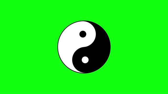 Oriental sign of yin and yang turns against green chromakey Traditional black and white sign of yin and yang turns slowly against green chromakey background computer generated imagery yin yang symbol stock videos & royalty-free footage