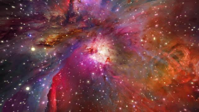 nebulosa di orione (zoom in stelle - galassia video stock e b–roll