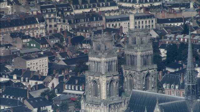 orleans cathedral  - aerial view - centre, loiret, arrondissement d'orléans, france - cathedrals stock videos & royalty-free footage