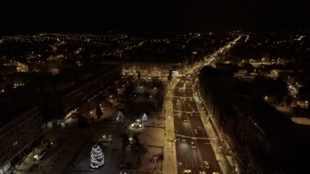 Ornate and lighted Christmas trees in the city video