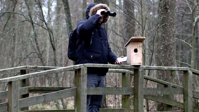 Ornithologist with binoculars and tablet PC near bird cage video
