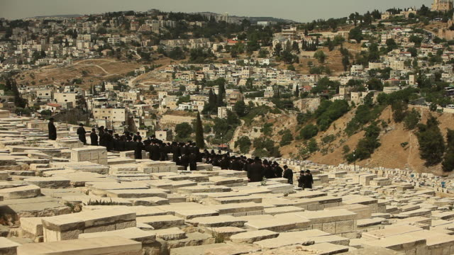 Orthodox Hassidic Jews in a Jerusalem Cemetery video