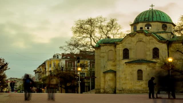 ortodoxal christian church at night - timelapse - jesus christ filmów i materiałów b-roll