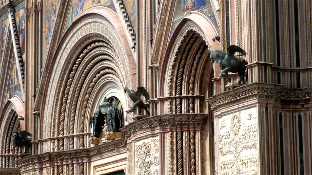 Orvieto Italy Cathedral Exterior Facade panoramic Orvieto Italy Cathedral Exterior Facade panoramic cathedrals stock videos & royalty-free footage