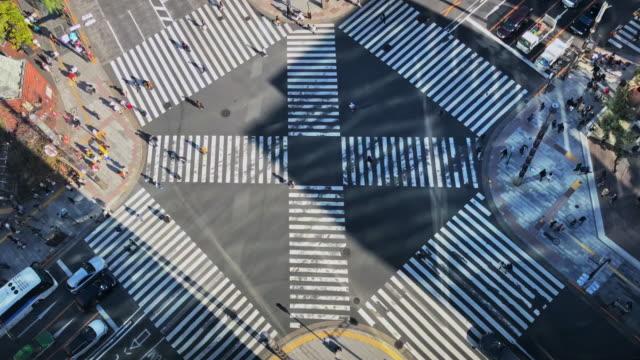大阪銀座 ビジーゼブラクロッシング ジャパン 4k ビデオ - 交差点点の映像素材/bロール