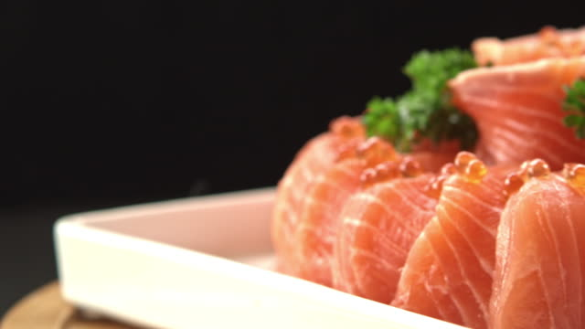 vídeos de stock e filmes b-roll de osaka salmon cake - meat texture
