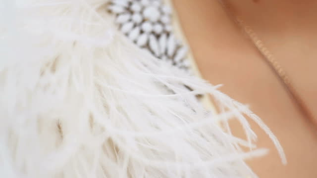 ostrich feathers and incrustation of their stones on a jacket video