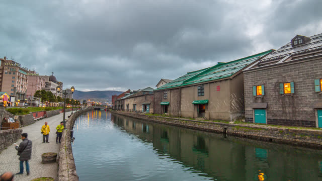 Otaru canal old factory vintage warehousedistrict landscape video