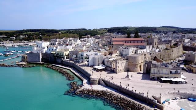 otranto with historic aragonese castle, apulia, italy - lecce video stock e b–roll