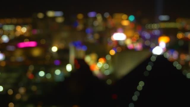 out of focus las vegas strip casino lights view - las vegas video stock e b–roll