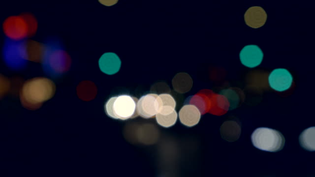 Out of focus night city lights.