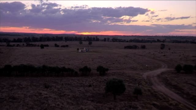 Outback Farm at Sunset- Aerial video