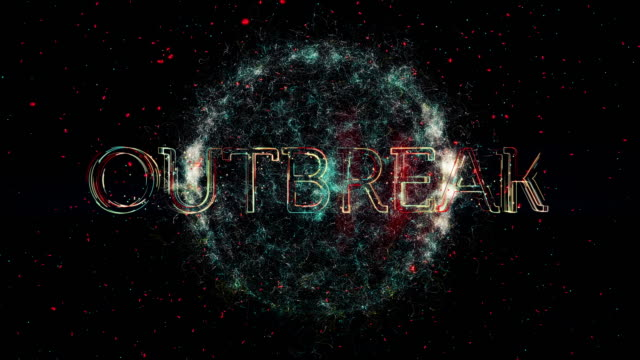 Outbreak title animation A representation of a Virus or bacteria with the word