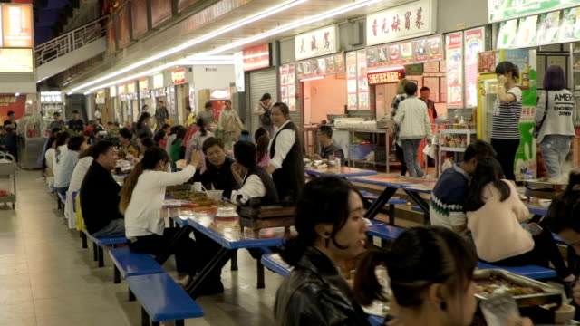 Outdoor fast food restaurants in Kunming China video