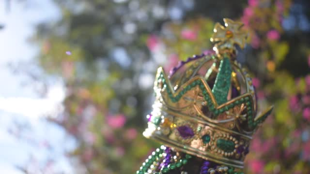 Outdoor Mardi Gras beads and crown