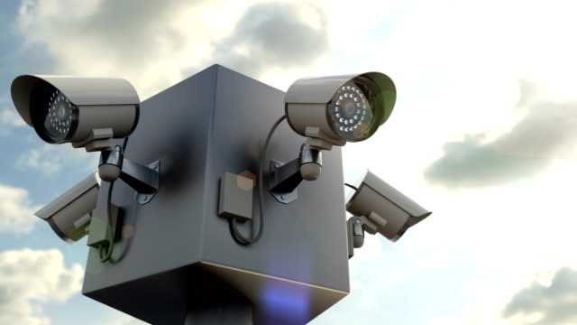 Outdoor security camera monitoring for people in the public place, 3d animation video