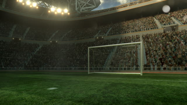 Outdoor soccer stadium on sunlight video