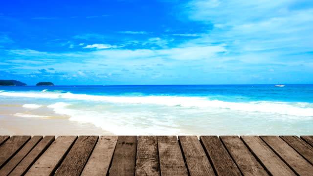 outdoor terrace on beach sea background - summer background стоковые видео и кадры b-roll