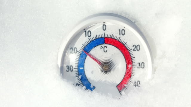 Outdoor thermometer in the snow shows increasing temperature - spring warming weather concept