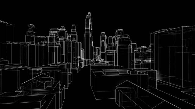 vidéos et rushes de concept de ville de contour. style de trame métallique. vidéo d'illustration 3d - contour