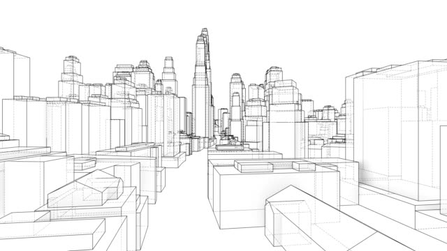 Outline city concept. Wire-frame style. 3D illustration video Outline city concept. Wire-frame style. The layers of visible and invisible lines. 3D illustration video office illustrations videos stock videos & royalty-free footage