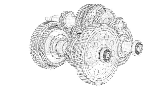 Outline gearbox concept. 3D illustration video Outline gearbox concept. Wire-frame style. The layers of visible and invisible lines. Rotating gears, shafts and bearings. 3D illustration video wire frame model stock videos & royalty-free footage