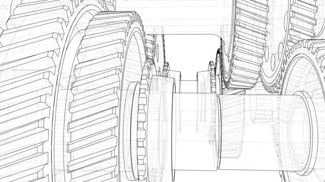 outline gearbox concept. 3d illustration video - часть машины стоковые видео и кадры b-roll