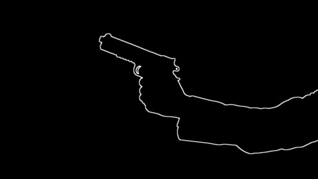 Outline of man's arm with gun shooting pistol video
