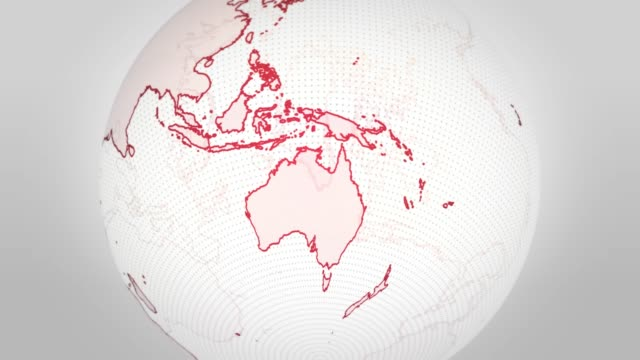 Outline Red and White Earth on Oceania Outline Red and White Earth on Oceania oceania stock videos & royalty-free footage